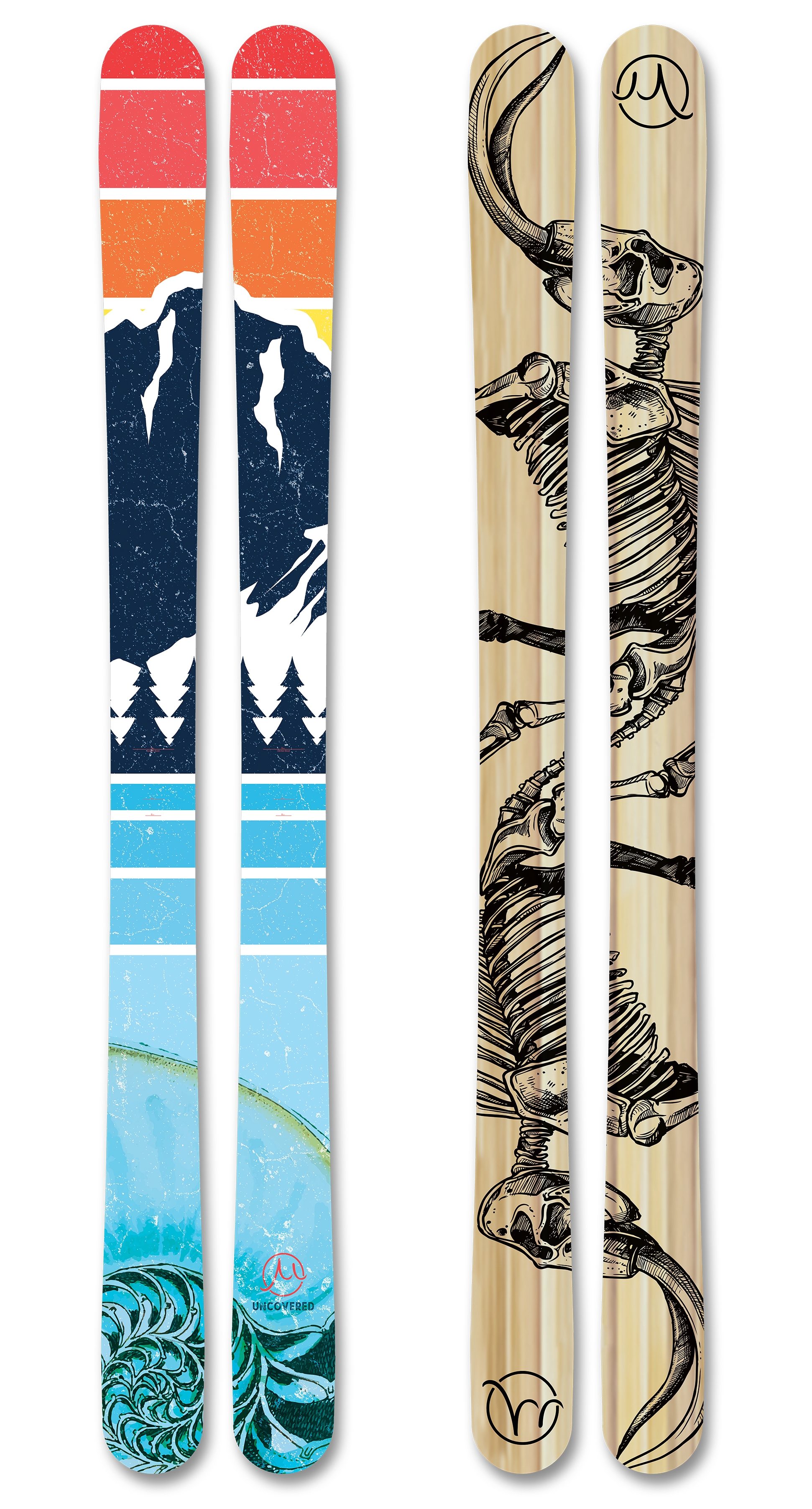 Uncovered skis large